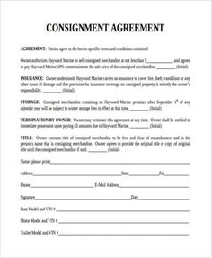22 Best Consignment Agreement Form Images In 2019