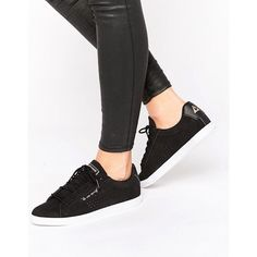 Le Coq Sportif Black Nubuck Agate Lo Plimsoll Sneakers ($70) ❤ liked on Polyvore featuring shoes, sneakers, black, laced shoes, lace up sneakers, lace up shoes, perforated sneakers and lacing sneakers