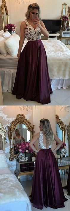 Long Prom Dresses, V-neck Party Dresses Lace, A-line Formal Evening Dresses Satin with Appliques
