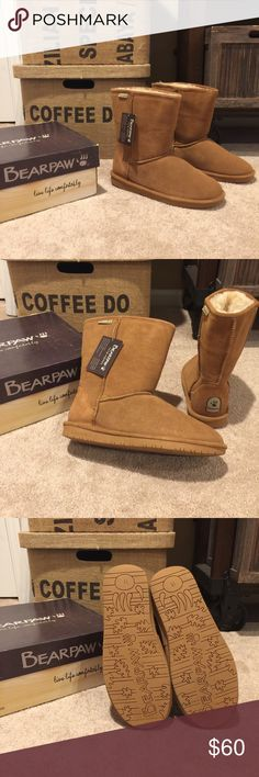 🐻 BEARPAW 🐻 Emma Short Hickory Sz 11 New in Box 🐻 BEARPAW 🐻 Emma Short Hickory Sz 11 New in Box.  These are brand new pick them for Christmas give them as a gift!   Wool lining real fur...will keep your feet warm and toastie this weather.   Sole are soft and comfortable to walk in all day.   Will be ship with original box 📦 BearPaw Shoes Ankle Boots & Booties