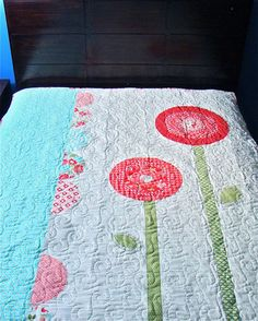 """Moda Bake Shop: """"May Flowers"""" quilt pattern / tutorial (this is the front of the quilt) - uses the Moda Vintage Modern fabric collection"""
