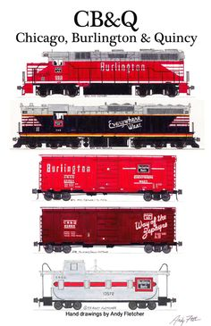 An poster with 5 of Andy Fletcher's hand drawings of CB&Q Railroad locomotives & rolling stock. Rail Train, Train Art, Train Template, Train Drawing, Train Posters, Choo Choo Train, Railroad Photography, Electric Train, Train Pictures