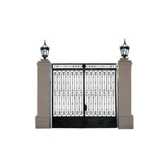 Big Iron Gate With 2 Lanterns made in Iron with bronze | VandM.com ❤ liked on Polyvore