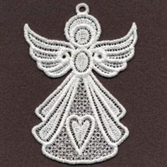 Sweet Heirloom Embroidery Design: FSL Fancy Angels 3.84 inches H x 2.69 inches W