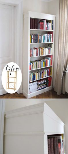"""IKEA HACK :: IVAR """"Gold Old Days"""" Bookcase :: Made from the IVAR shelf, some MDF panels on the sides & top & decorative molding around the top & bottom. Then painted white. And at 53 bucks for the system & 6 for extra shelves, this is a great budget project. Love it! 