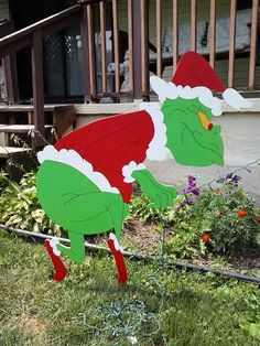 "Sneaking Grinch Stealing Lights Handmade Wood Yard Display (48"") Just place your string of Christmas lights in the fasteners on backside of his hands https://www.etsy.com/listing/198436877/grinch-christmas-sneaking-grinch?ref=listing-shop-header-1"