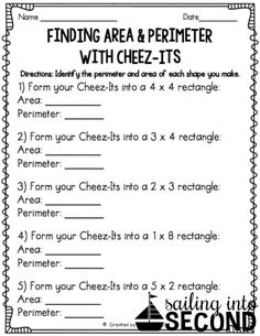 Last month, we had been working on identifying area and perimeter in math. So, I thought a fun activity to wrap up our unit could be this Cheez-It activity I saw on Fourth Grade Math, Second Grade Math, Grade 3, Sixth Grade, Maths 3e, Math Math, Math Night, Math Measurement, Math Intervention
