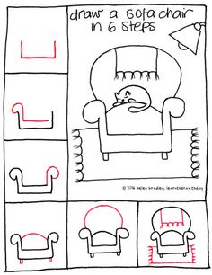 Learn to draw a sofa chair in 6 easy steps