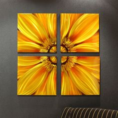 Sunflower Flower Floral Metallic Printed Aluminum Wall Art Decoration 4 Pc