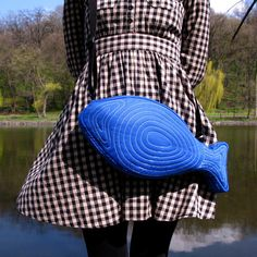 Fish Bag Fish Purse Electric Blue Summer Bag Cute Bag by Marewo, $47.00