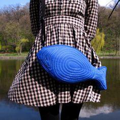 Fish Bag Fish Purse Electric Blue Summer Bag Cute Bag by Marewo, $47.00