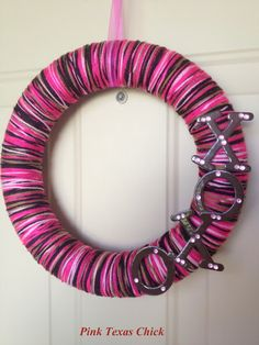 A yarn wreath I made for Valentine's Day.  DIY, crafts, xoxo, valentine