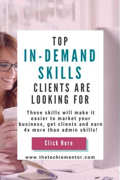 Are you ready to earn more money in your Virtual Assistant business? To help you earn 4 times more than offering general or admin skills and services, learn the top in demand skills and services clients really need help and support with. Find out what these skills are and how you can learn them to offer them to your clients. | top virtual assistant skills | virtual assistant services list | virtual assistant training | Virtual Assistant Services, Earn More Money, Digital Marketing Services, News Online, Online Business, Finding Yourself, Articles, Success, Training