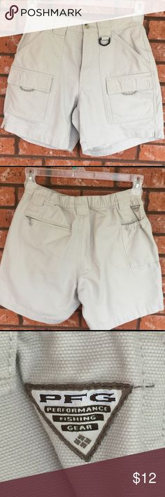 Columbia stone colored PFG shorts size S Ladies Columbia PFG stone colored shorts in size small.  EUC, see pics for measurements! Columbia Shorts