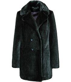Terri Racing Green Faux Fur Pea Coat - REISS