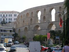 Ancient aqueduct in Kavala running through town.