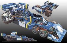 Apropos of Nothing: The Six Wheeled Tyrrell Formula 1 Car Nascar, Classic Motors, Classic Cars, Sport Cars, Race Cars, Grand Prix, Formula 1 Car, Car Illustration, Car Drawings