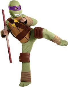 Donatello TMNT Boys Costume - Donatello Teenage Mutant Ninja Turtle costume includes:  Jumpsuit Elbow and knee pads Mask Stuffable shell  #tmnt #ninjaturtles #tv #movie #turtle #donatello #yyc #calgary #costume #kids #children