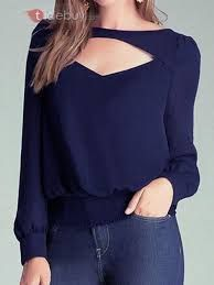 Women's Long Sleeve Blouse Chiffon Cut Out Slit Back Party Clubwear Tops, Navy Blue, Cool Outfits, Casual Outfits, Fashion Outfits, New Mode, Clubwear Tops, Chiffon Shirt, Sheer Chiffon, Casual Tops, Blouse Designs