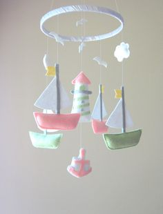 Baby Mobile  Sailboat Mobile  Nautical Theme by LoveFeltXoXo. , via Etsy.