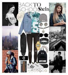 """Back to school with shein"" by inesramos-1 ❤ liked on Polyvore featuring Wet Seal, River Island, adidas Originals, Vans, Casio, Moschino, Casetify and Iosselliani"