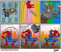 """""""Spidey catches a man's coat, but the body dies"""""""
