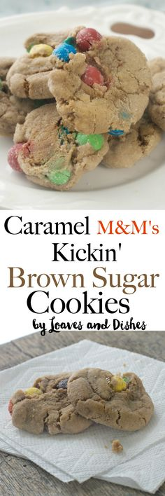Simple Easy Chewy Caramel and chocolate Best Cookies Ever! Made with the new M&M's Caramel in a brown sugar soft cookie. Simple Recipe.