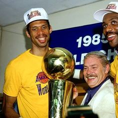 Kareem Abdul-Jabbar, celebrates the 1985 world championship with Lakers owner, Jerry Buss. This is one of Kareem's six NBA championships.