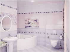Cuarto de baño en tonos lila