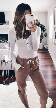 #winter #outfits women's white half-button long-sleeved shirt. Click To Shop This Look.