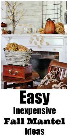 Easy inexpensive ideas for a fall mantel.  The branches and hydrangea are from the yard and the leaves are made from craft paper.  thistlewoodfarms.com