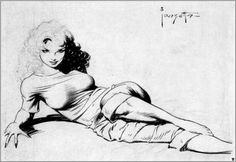 Frank Frazetta, Sweater girl (AKA Came the Dawn), unpublished illustration for EC's Shock Illustrated. When the magazine was canceled, Frazetta opted to keep it rather than completing it and selling it to publisher William Gaines. Frank Frazetta, Black And White Artwork, Arte Obscura, Pulp Art, Fantastic Art, Fantasy Artwork, Comic Artist, Comic Books Art, Erotic Art