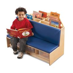 Shop all of our Childrens Chairs and Kids Seating and learn why we are considered the best in the industry. Explore our huge inventory of Childrens Chairs now. Kids Library, Library Design, Kids Couch, Giant Animals, Library Furniture, Kids Seating, Blue Cushions, Book Nooks, Kid Spaces
