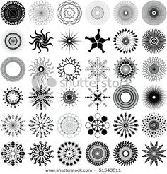 Illustration of A set of 36 unique, intricate spiral design elements vector art, clipart and stock vectors. Mandala Art, Dot Art Painting, Rock Painting, Doodles Zentangles, Art Sketchbook, Vector Design, Painted Rocks, Pattern Design, Unique