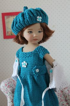 Knitted dress, cardigan & beret