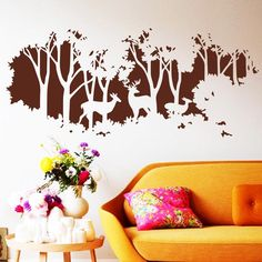 Find More Wall Stickers Information about Free Shipping 2015 NEW Design Art deers in forest wall sticker Trees Home decor Creative Vinyl Cheap Removable Wall decals,High Quality art cookies,China deer art prints Suppliers, Cheap deer fur from Art decor on Aliexpress.com