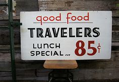 "good food travelers 26""x48""hand painted double-sided wood sign"