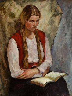 Reading Woman. Bertold Piotr Oczko (Polish, 1910-1943). Oil on panel.  Books and Art