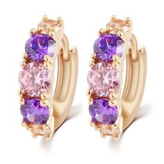 Cheap earrings for women, Buy Quality earrings for women designer directly from China fashion earrings for women Suppliers: Hot Sell Fashion Charm Personality Alloy Gold color Purple Crystal Earring Jewelry Round Zirconia Design Earrings For Women Sapphire Earrings, Gold Drop Earrings, Round Earrings, Crystal Earrings, Crystal Jewelry, Women's Earrings, Flower Earrings, Purple Earrings, Wedding Earrings
