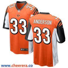 7efcfcba5 Men s Cincinnati Bengals  33 Rodney Anderson Orange Stitched NFL Nike Game  Jersey
