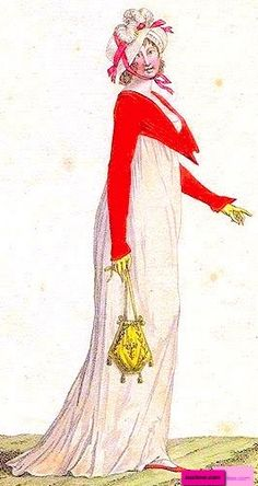 1808 Red Spencer with a pointed shawl bodice and long sleeves, French. Worn over a white dress with a train. Carrying a yellow reticule with tassels and wearing yellow gloves and a white straw hat with a pink ribbon tie. Fashion Plate via Journal des Modes et des Dames, or Costume Parisienne. suzilove.com