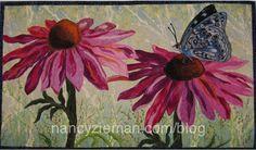 Butterfly on a cone flower quilt Landscape Art Quilts, Landscapes, Butterfly Quilt, Flower Quilts, Thread Painting, Textile Artists, Applique Quilts, Fabric Art, Fiber Art