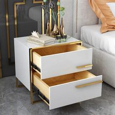 Trendy Furniture, Home Decor Furniture, Furniture Projects, Furniture Design, White Side Tables, Modern Side Table, Home Room Design, Bed Design, White And Gold Nightstand