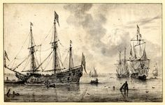Sea-piece with a three-master undergoing repairs; men in a rowing boat at r, a ship at full mast and sailing boats behind Brush drawing in grey wash