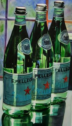 Tall Drink of Water (Still life San Pellegrino) by Carrie Waller Watercolor ~ 35 x 20 Painting Still Life, Still Life Art, Hyper Realistic Paintings, Painting Competition, San Pellegrino, Design Blog, Art Themes, Photorealism, Watercolor Paintings