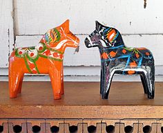 Vintage Scandinavian Dala Horse Duo Hand Painted by JwrobelStudio-Really Swedish but I love It!