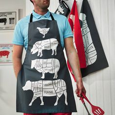 Butcher Meat Cuts Kitchen Apron - Foodie Gift - Chef Apron - Cuts of Meat Apron - BBQ apron - gift for him - chef gift - cook apron Bbq Apron, Chef Apron, Great Dad Christmas Gifts, Barbacoa, Shrimp On The Barbie, Bbq Gifts, Aprons For Men, Linen Apron, Gifts For Cooks