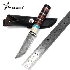 KKWOLF Damascus pattern steel Hunting knife Fixed Blade Knife Leather handle Tactical Knife Outdoor camping survival Knives gift