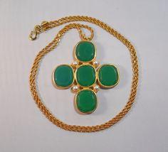 Fabulous Signed KJL Kenneth Lane Maltese Cross Green Glass Pendant Necklace #KennethJayLane #Pendant