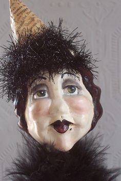 """Maeva"" Witch Wicca Halloween Folk Art Doll Handmade by Creativelyjuiced Halloween Buckets, Halloween Town, Halloween Crafts, Paperclay, Wicca, All Art, Art Dolls, Sculpting, Folk"